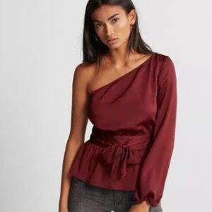 Express burgundy one shoulder tie waist top